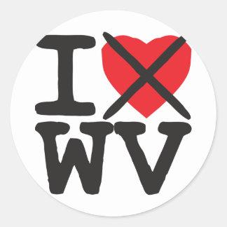 Odio WV - Virginia Occidental Etiquetas Redondas