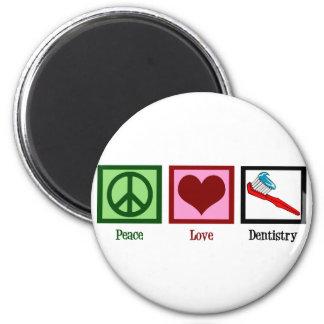 Odontología del amor de la paz imán redondo 5 cm