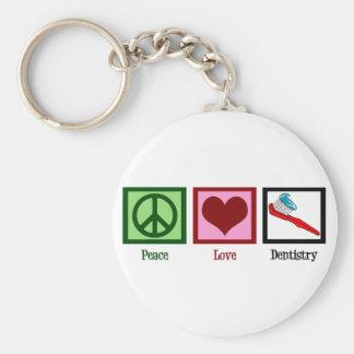 Odontología del amor de la paz llavero redondo tipo pin