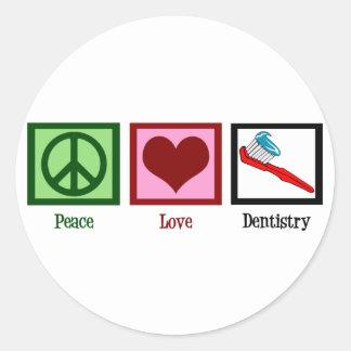 Odontología del amor de la paz etiquetas redondas