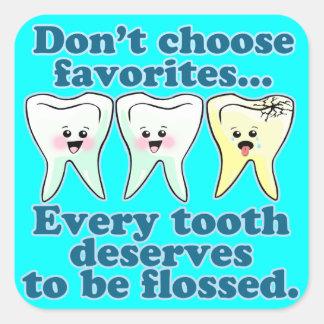 Odontología del higienista dental del dentista calcomanía cuadradas personalizadas