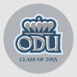 ODU with Crown and Class Year Classic Round Sticker