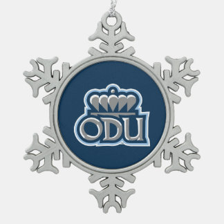 ODU with Crown Snowflake Pewter Christmas Ornament