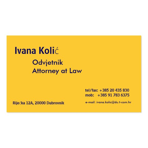 OdvjetnikAttorney at Law                       ... Business Card