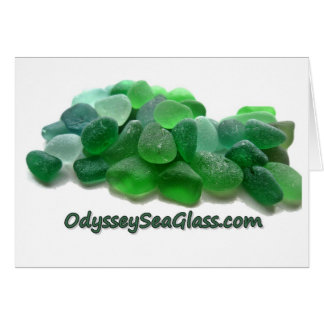 OdysseySeaGlass.com Green Sea Glass w Logo Card