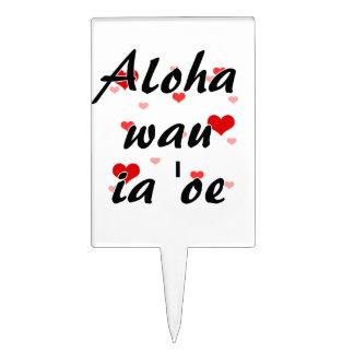 Oe del ia del wau de la hawaiana '- corazones del  decoración para tarta