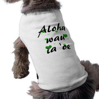 Oe del ia del wau de la hawaiana '- los corazones  playera sin mangas para perro