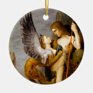Oedipus and the Sphinx by Gustave Moreau Ceramic Ornament