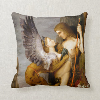 Oedipus and the Sphinx by Gustave Moreau Throw Pillow