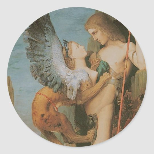 Oedipus and the Sphinx Classic Round Sticker