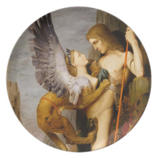 oedipus and the sphinx melamine plate