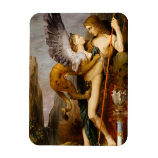 oedipus and the sphinx rectangular photo magnet