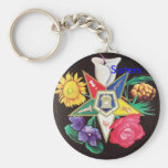 OES Blooming Star Basic Round Button Keychain