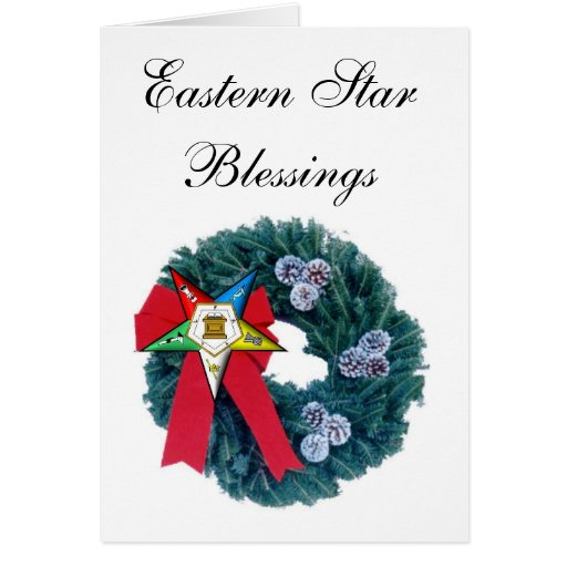 OES Christmas Wreath Card -Eastern Star Blessing | Zazzle