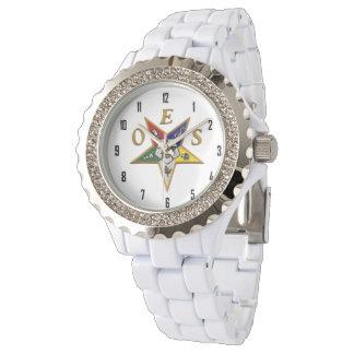OES Custom Women's Rhinestone White Enamel Wristwatch