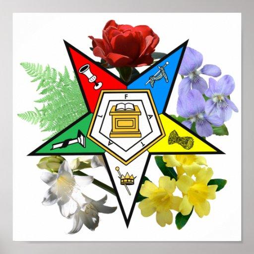 Oes Floral Emblem Poster Zazzle