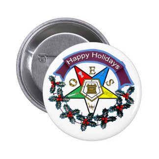 OES Holiday Wreath Pinback Button