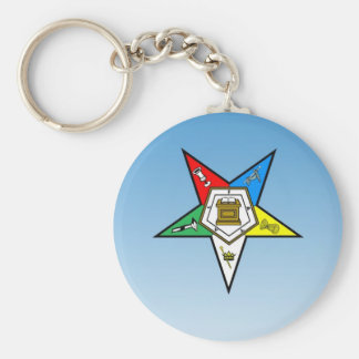 OES Order of the Eastern Star Blue Basic Round Button Keychain