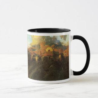 Oeste americano del vintage, rastro terrestre de taza