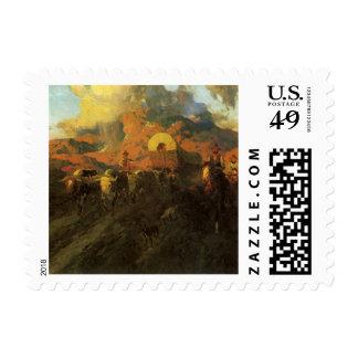 Oeste americano del vintage, rastro terrestre de timbres postales