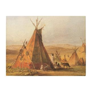 Oeste americano del vintage, tiendas de los indios impresión en madera