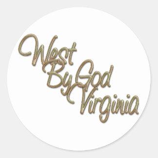 Oeste de dios Virginia_2 Pegatina Redonda