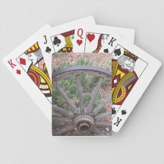 Oeste de la rueda de carro viejo cartas de juego