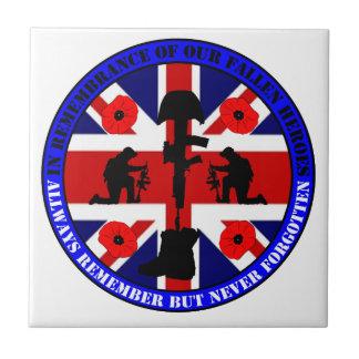 Of caen en Remembrance our UK Heroes Azulejo Cuadrado Pequeño