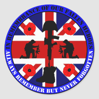 Of caen en Remembrance our UK Heroes Pegatina Redonda