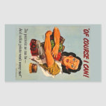 Of Course I Can! Vintage Retro World War II Rectangular Sticker