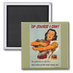 Of Course I Can! Vintage World War Two 2 Inch Square Magnet
