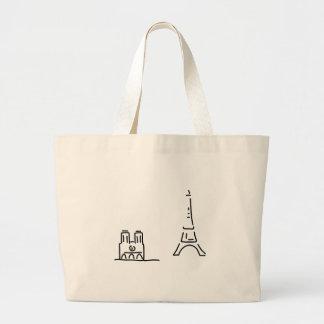 of Paris eiffelturm notre lady Large Tote Bag