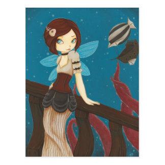 Of Sky - Steampunk fairy airship Postcard