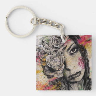 OF SUFFERING - dark gothic portrait, roses lady Keychain