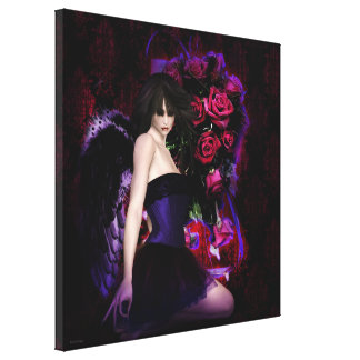 Of Wings and Roses Gothic Girls Fantasy Art Canvas Print