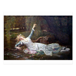 Ofelia, ahogándose tarjeta postal