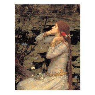 Ofelia con fluir el pelo rojo tarjetas postales