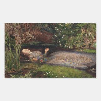 Ofelia de John Everett Millais Pegatina Rectangular