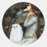Ofelia - gatito persa blanco etiquetas redondas