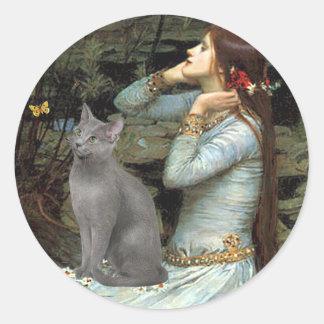 Ofelia - gato azul ruso etiqueta redonda