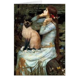 Ofelia - gato siamés del punto del sello tarjeta de felicitación