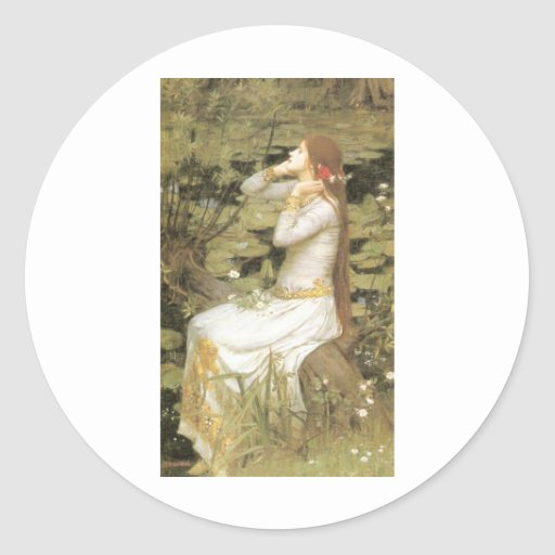 Ofelia - John William Waterhouse (1894) Pegatina Redonda