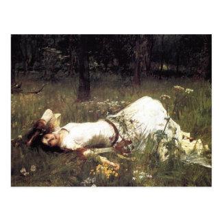 Ofelia que miente en el prado tarjetas postales