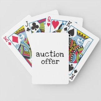 Oferta de la subasta barajas de cartas