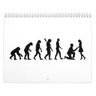 Oferta del boda de la evolución calendario de pared