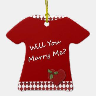 ¿Oferta del boda usted me casará? Compromiso Ornamento De Navidad