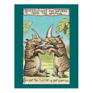 Oferta del rinoceronte de la boda postal