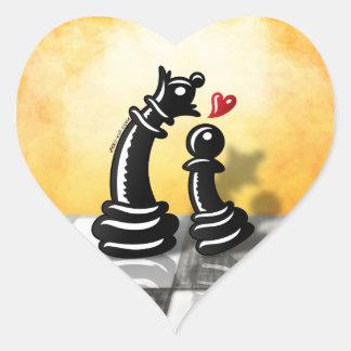 Oferta romántica intrépida para una reina pegatina en forma de corazón