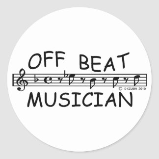 Off-Beat Musician Classic Round Sticker