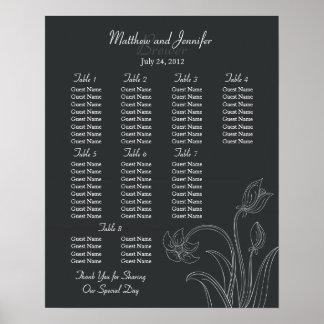Off Black Custom Wedding Reception Seating Chart